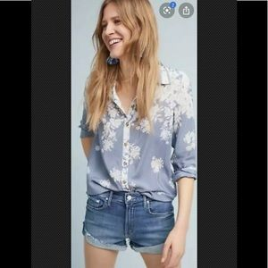 MAEVE Blouse Top Silk Blue White Floral Button